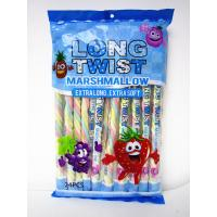 Quality Long twist fruit flavor mashmallow / extra long and soft / nice-looking snack mashmallow for sale