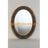 Quality Antique gold finish PU framed oval shaped wall mirror with carved flowers and bevelled mirror for sale