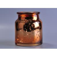 Quality Large capacity 20oz coloured glass candle holders , mercury rose gold glass candle jar for sale