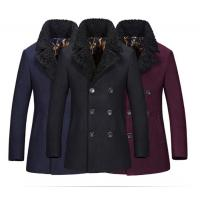 Quality Regular Length Mens Wool Coat With Fur Collar , Mens Double Breasted Trench Coat for sale