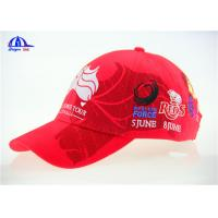 Quality 10x10 Brushed Red Cotton Embroidered Baseball Caps / Cool Baseball Cap for sale