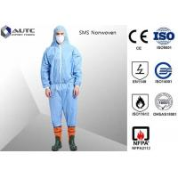 Quality Non Woven Chemical Protective Clothing Full Face Two Way Zipper Bound Seams for sale