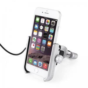 China Motorcycle Phone Holder Phone Mount 5V 2A USB Port Metal Aluminum Alloy Handlebar Holder 360° Adjustable fit 4-6.8 inch on sale