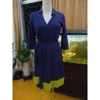 Quality Fitted Wrap Style Women Office Dress Violet Half Sleeve Summer Dresses High End for sale