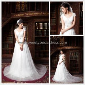 Quality Aline V-Neck Cap Sleeves Beading Belt Tulle Wedding Dress ZX005 for sale