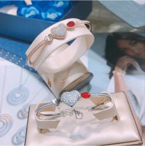 Buy cheap 925 Sterling Silver Heart Bracelet Bangle Swaroski Jewelry from wholesalers