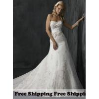 China Free Shipping Fancy Satin A-line Strapless Sleeveless Embroidery Wedding Dresses on sale
