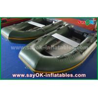 Quality Green 0.9 / 1.2 mm Tarpaulin PVC Inflatabe Boats with Aluminum Floor / Paddles for sale