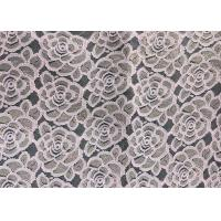 Quality Water soluable golden Embroidered Rose guipure Lace Fabric Textile Design 90% Nylon 10% Lycra Spandex Knitting for sale