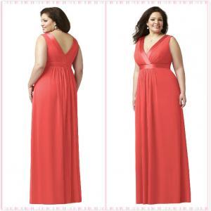 Quality Straps Aline Plus size Chiffon Bridesmaid dress#7979-fire for sale