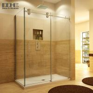 Quality Gold Frameless Corner Shower Enclosure , Luxury Etched Glass Shower Doors for sale