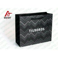 Quality Shirt Shop Black Custom Branded Paper Bags With Logo Matte Lamination Suface for sale
