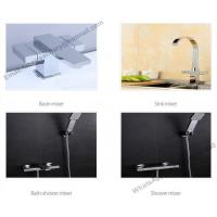 China sanitary ware deck mounted square body basin mixer faucet use in bathroom,brass square double handle wash basin faucet on sale