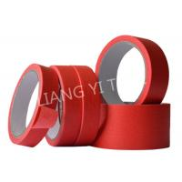 Red Crepe Paper Paper Masking Tape Strong Holding Power / No Adhesive Residue for sale