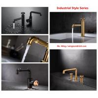 China brass vanity basin Faucets black colour cold hot water Industrial Style  wholesale price on sale