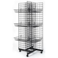 Quality 4 Sided Retail Display Racks Merchandising Shelves With 12 Baskets for sale