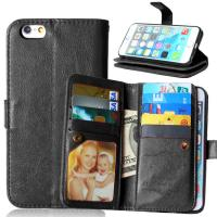 Quality iPhone 5 5S 6 6S Plus Wallet Case Retro Cover Bags Case Pouch 9 Cards Slot Holder Pocket for sale
