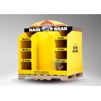 Quality Six pockets with bright yellow cardboard retail pallet displays for rain wear for sale
