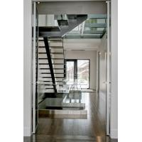 Quality Inside straight staircase wooden stair with glass railing design for sale