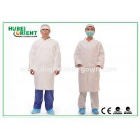 Quality Tyvek disposable white lab coats , medical protective clothing Korean Collar and Zip for sale