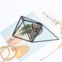 China Black Frame Dustproof Triangle Glass Jewellery Storage Box Gifts for sale