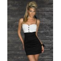 China Sexy Clubwear Wholesale Black White New Arrival Fashion Black Dress with Button Decorate as sexy clubwear for party on sale