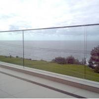 Buy cheap Balcony pre-buried u channel glass balustrade terrace railing designs with removable handrail from wholesalers