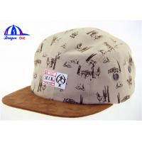 Quality Cool Suede Snapback 5 Panel Camp Cap , Short Brim Custom Made Baseball Caps for sale