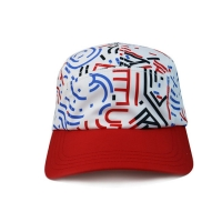 Quality High Quality 5 Panel Caps sublimation pattern camper cap with polyester with nylon webbing plastic buckle for sale