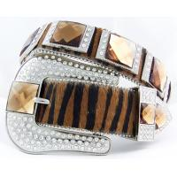 China Western cowgirl brindle brown cowhide belts with glass decorative on sale
