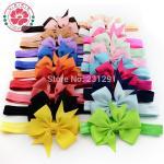 Quality Girl Hair Bow Headband DIY Grosgrain Ribbon Bow Elastic Hair Bands For Newborn Infant Todd for sale