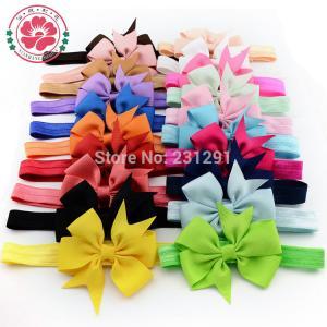 Girl Hair Bow Headband DIY Grosgrain Ribbon Bow Elastic Hair Bands For Newborn Infant Todd