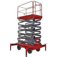 Buy cheap 14m 450kg Manual Pushing Mobile Telescoping Lift Red Hydraulic Elevator Aerial from wholesalers