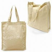 Quality Canvas Shopping Bag with Bottom and Hook-and-loop Closure, Measures 34 x 30.5 x 9cm for sale