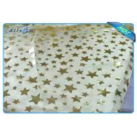 Quality Diposable Golden Star Printed Non woven Tablecloth Roll / Piece For Christmas Decoration for sale