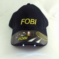 Buy cheap LED Cap, Made of Cotton, with Embroidery Logo, Customized Closures and Logos are Welcome from wholesalers