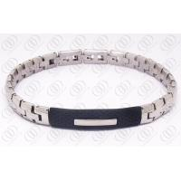 Quality Fashion Stainless Steel Bracelets With Black Rubber Unisex , Silver and Black Bracelet for sale