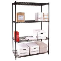 Quality Four Tier Office Storage Steel Wire Shelving / Black Metal Freestanding Rack for sale