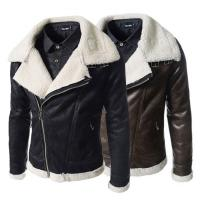 Buy Fashion Winter Sheepskin Lined Leather Jacket , Mens Faux Leather Aviator Jacket at wholesale prices