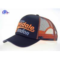 Quality MeshTrucker Caps Wholesale Breathable Baseball Cap Black And Orange 5 Panel for sale