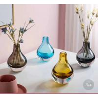 Quality Brown Colored Glass Flower Vases / Bulb Type Glass Flower Vase Decoration for sale