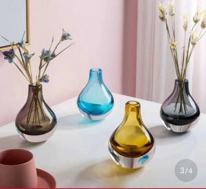 Brown Multi Colored Glass Flower Vases 1.3cm * 10cm * 13.5cm For Desktop