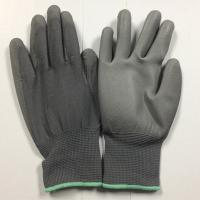Quality Grey PU palm coated gloves with polyester seamless shell for sale