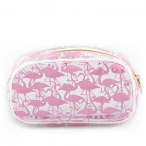 Pink PVC Closure / Custom Cosmetic BagsWith Brush Holder / Glitter Zipper