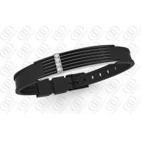 Quality Black Plated Magnetic Therapy Bracelets With Clear CZ Accents for sale