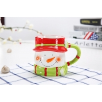 Quality Hand Painted Three Dimensional 301CC Christmas Ceramic Mugs for sale
