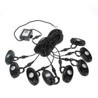 Quality 8Pcs RGB LED Rock Lights Wireless Bluetooth Music Flashing Multi Color Offroad for sale