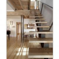 Buy cheap single stringer steel staircase,mono stringer staircase with wood steps from wholesalers