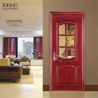 Quality Rural Hotel Solid Wood Interior Doors With Glass High Temperature Resistant for sale