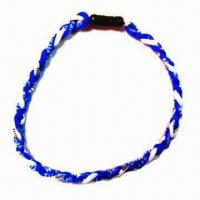 Quality Phiten Braided Rope Necklace, Available Various Designs and Colors for sale